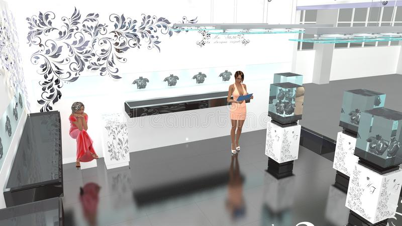 3d model of jewelry salon stock image image of stands for Jewelry stand 3d model
