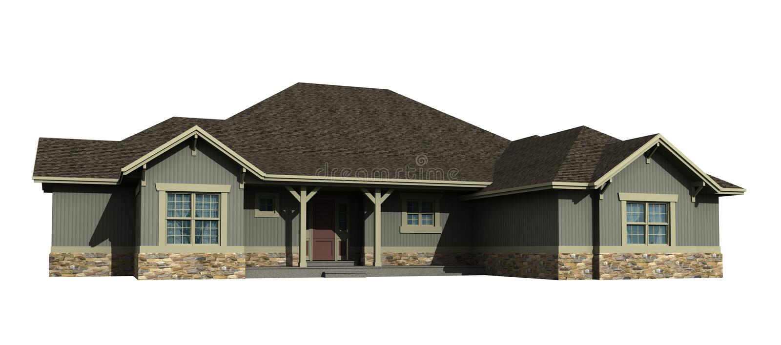 3d model of one level house royalty free stock photos