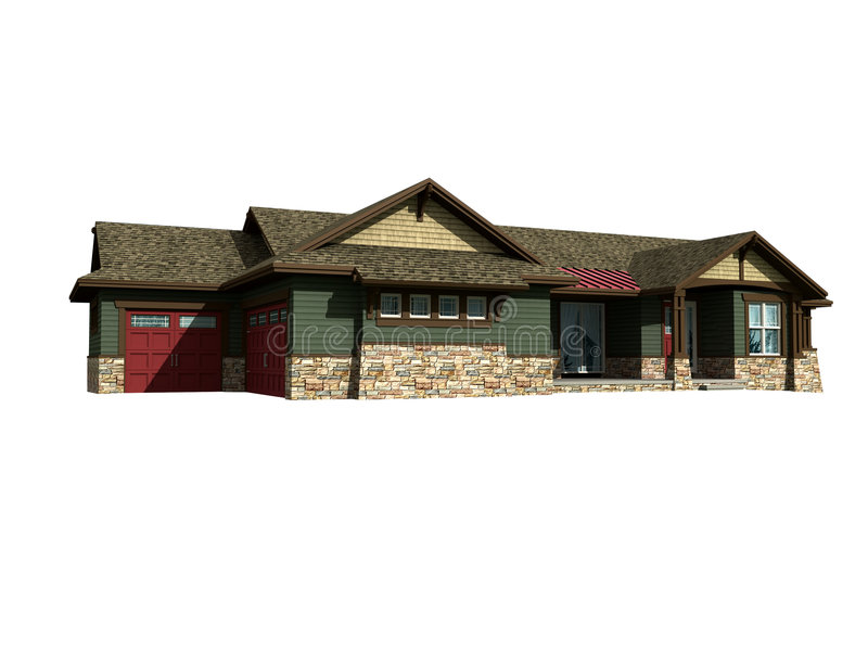 3d model of ranch house stock images