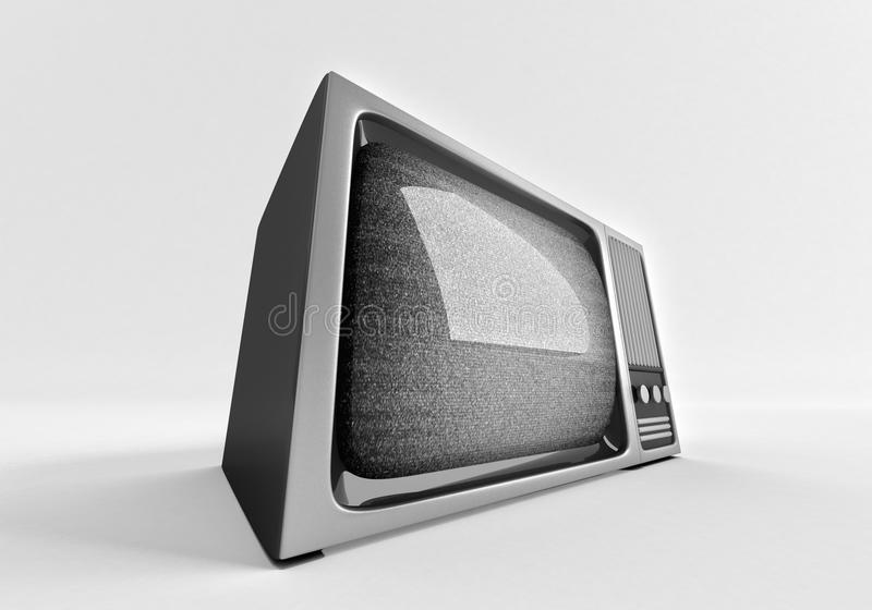 3d model of retro tv with static. stock illustration