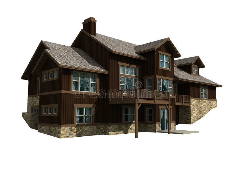 3d model of two level home royalty free illustration