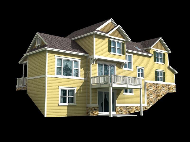 3d model of two level house vector illustration
