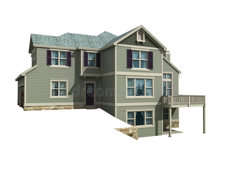 3d model of two level house stock illustration