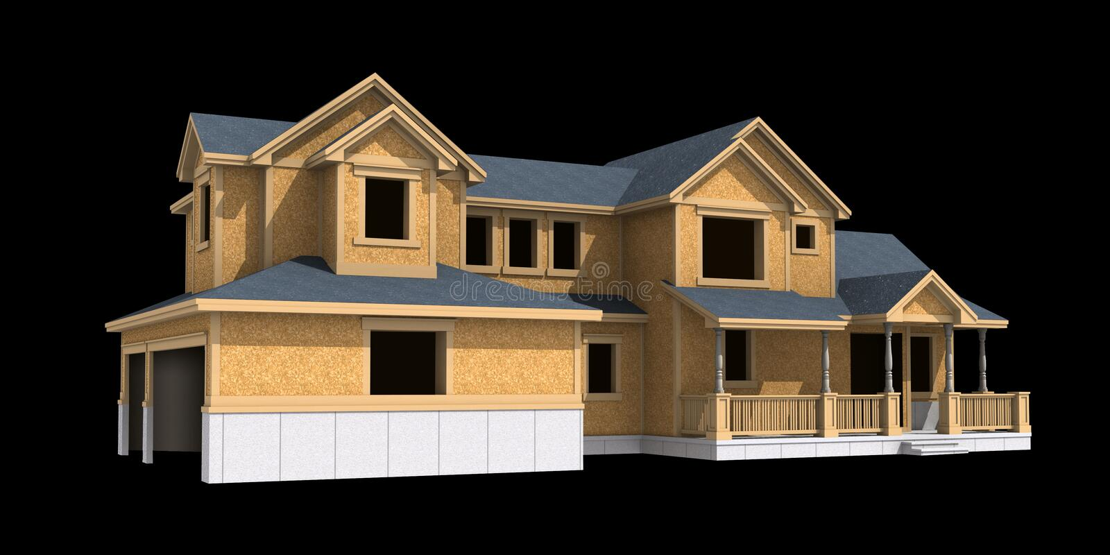 3d model of unfinished ranch royalty free illustration