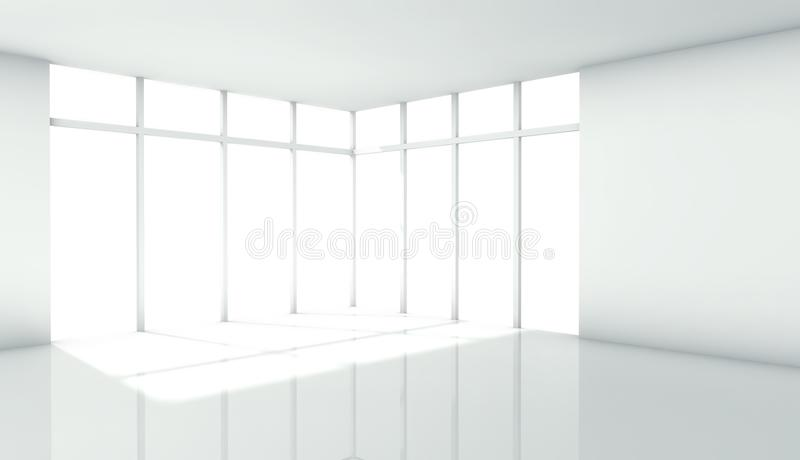 3d modern architecture interior with window stock illustration