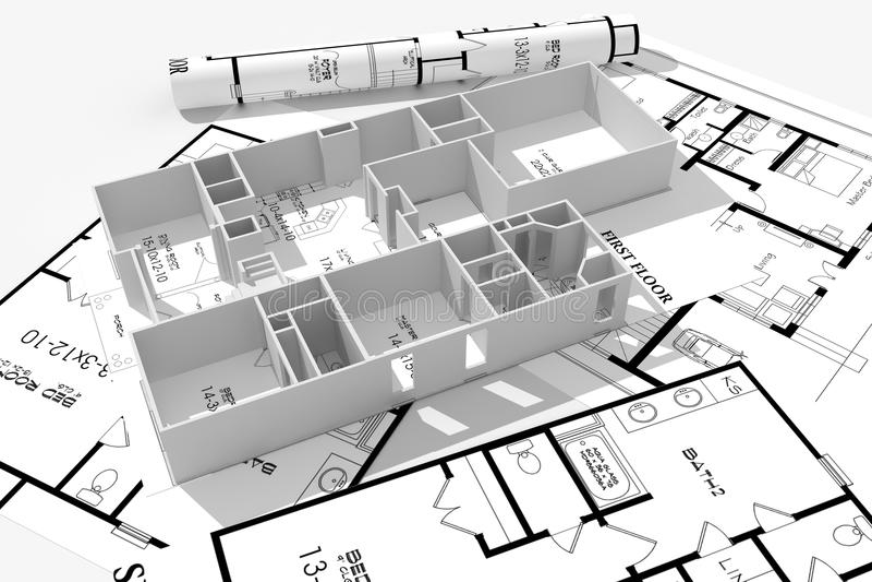 3d modern huis, en blauwdrukken die op wit worden geïsoleerdr royalty-vrije illustratie