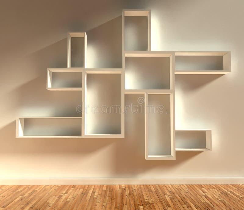 3d modern interior, empty shelf. 3d modern interior with empty shelf stock illustration