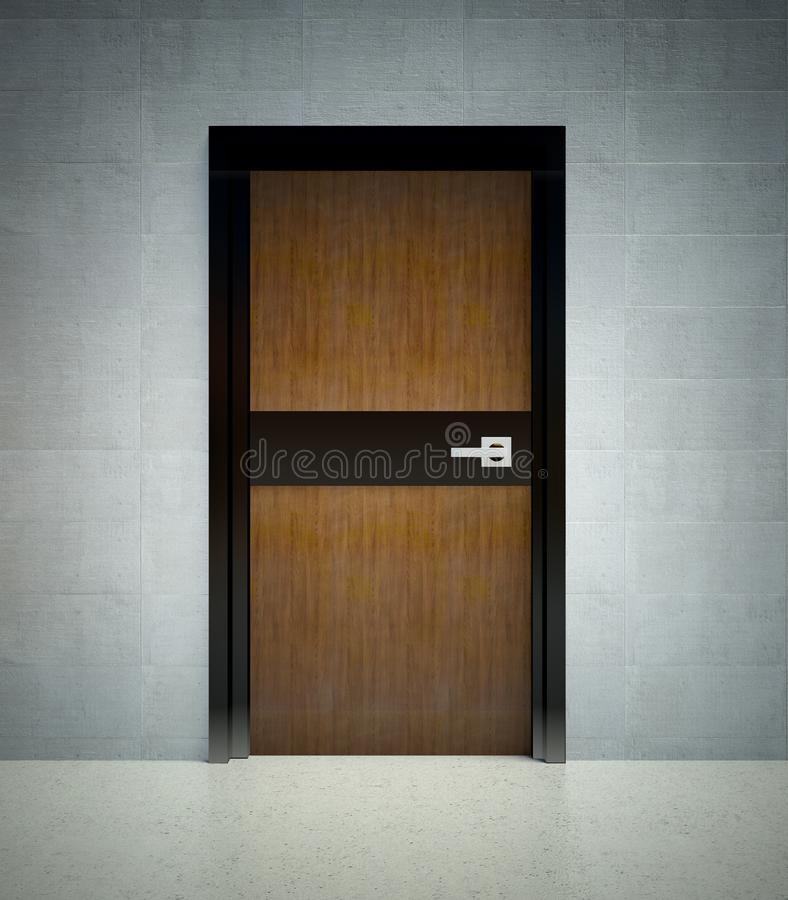 3d modern interior, wall with door stock illustration