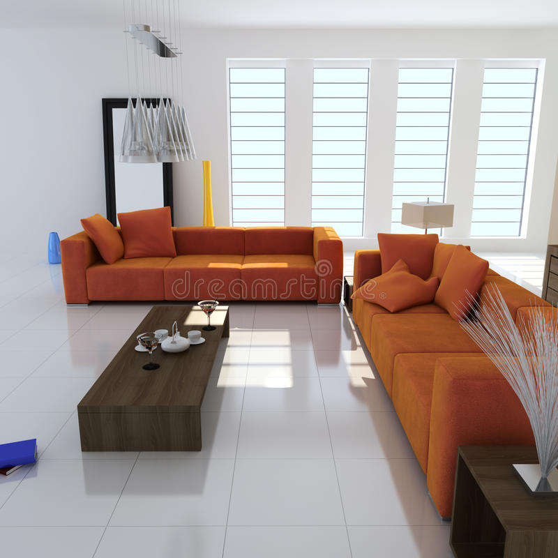 3d modern living room royalty free illustration