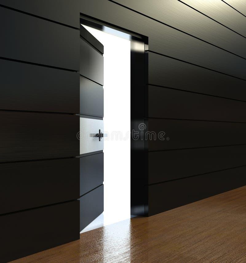 3d moderner Innenraum, Wand mit offener Tür stock abbildung