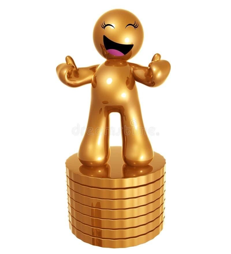 3d monety postać ikona złociści stosy ilustracji