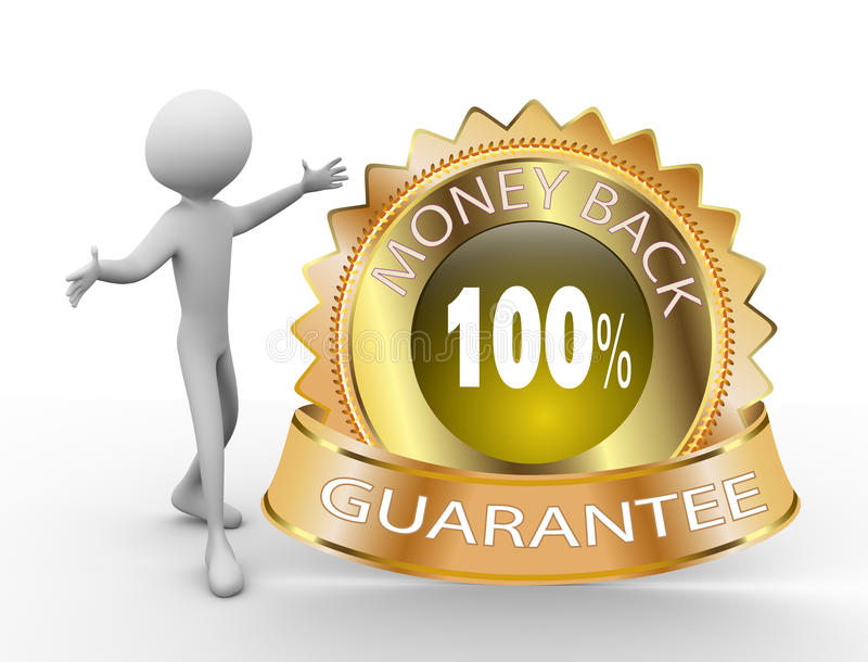 3d Money Back Guarantee. 3d man with 100% Money Back Guarantee Golden Icon royalty free illustration