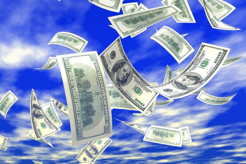 3d money falling stock illustration