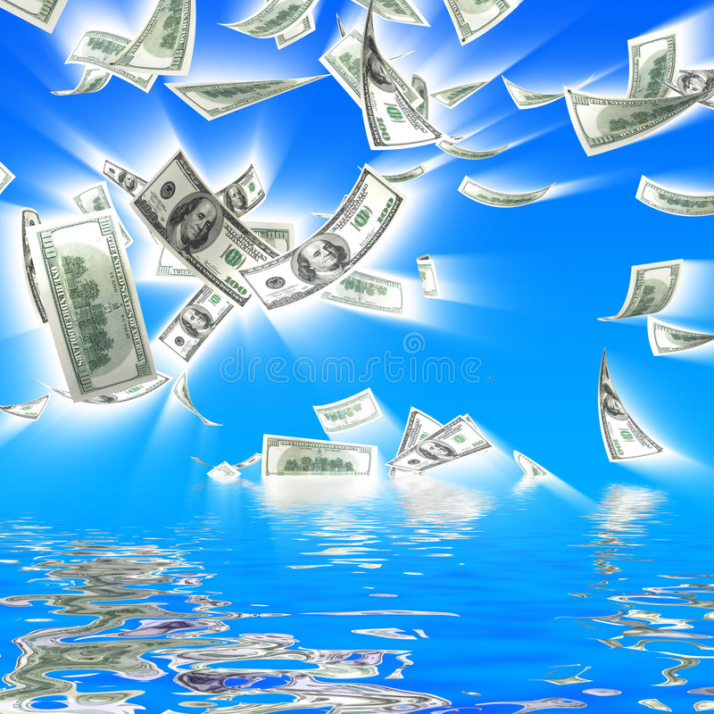 3d money falling vector illustration