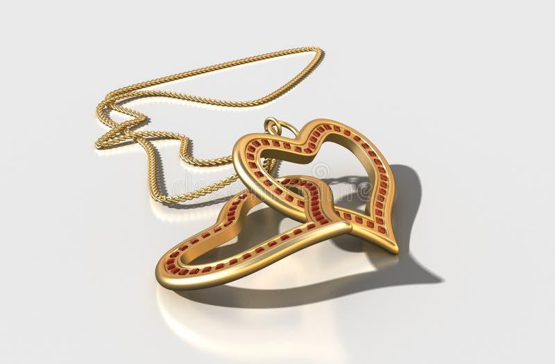 3D monili, cuori dell'oro con i rubini illustrazione di stock