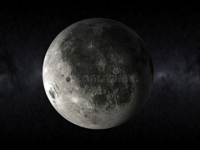 3d moon in the space vector illustration