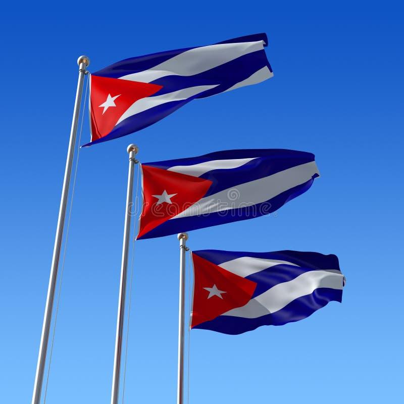 3d mot den blåa skyen för cuba flaggaillustration royaltyfri illustrationer