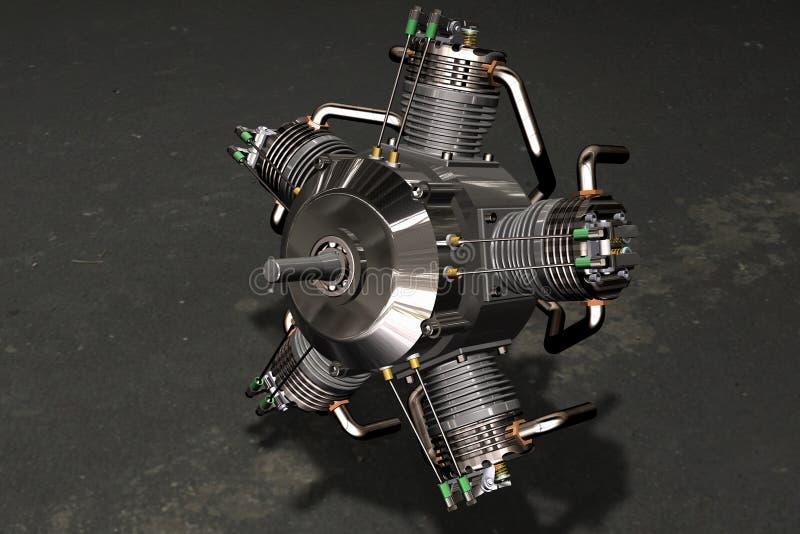 3D motor radiale vliegtuigen royalty-vrije illustratie