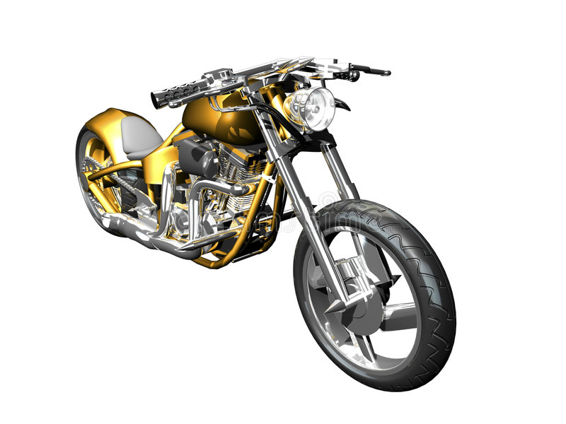 3D Motorcycle front side view stock illustration