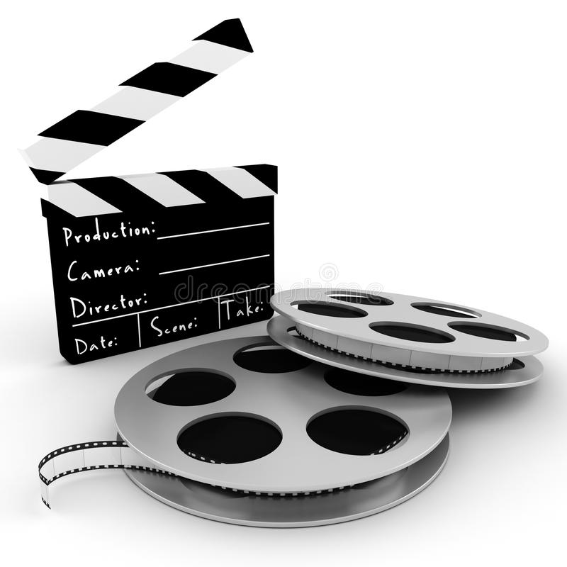 3d movie objects , clipper and reel roll. Isolated on white vector illustration