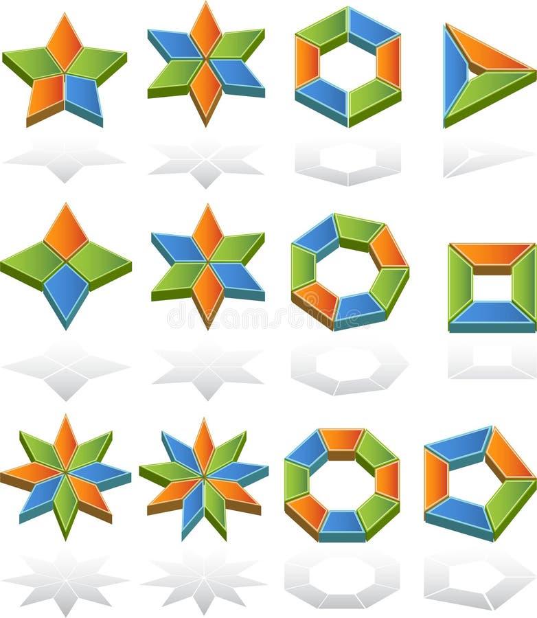 3D Multi-A dégrossi des tableaux illustration de vecteur