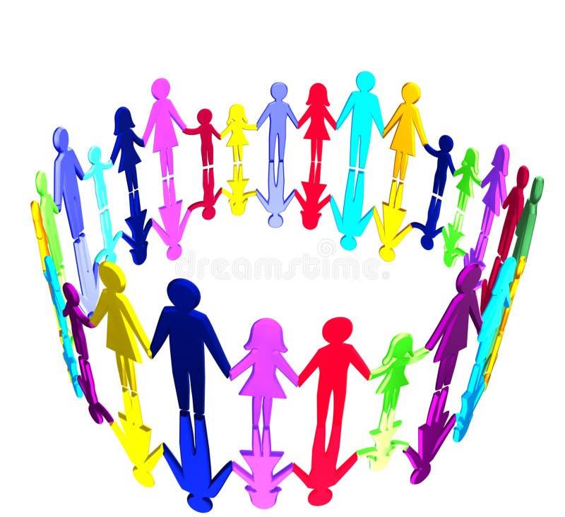 3D - Multicultural community stock illustration