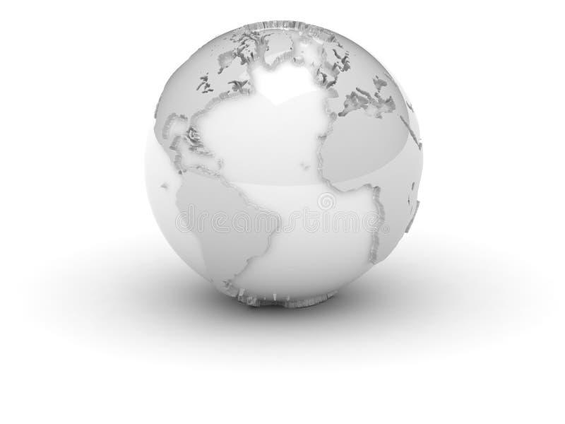 (3d) Mundo no branco com relevo ilustração royalty free