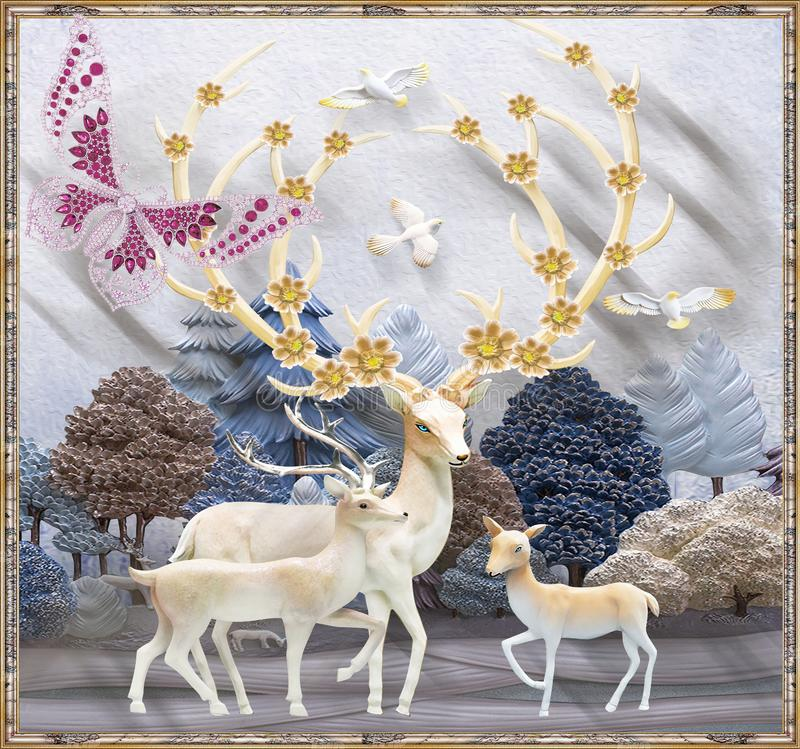 Free 3d Mural Flowers Background With Deer And Circle Wallpaper For Walls . With Golden Tree Flowers And Jewelery  Background . Stock Image - 158249171
