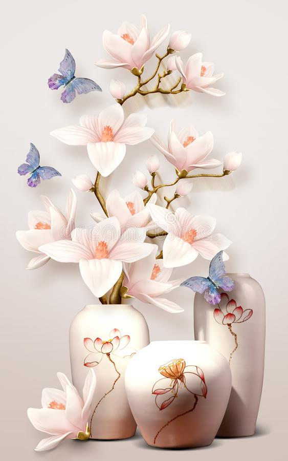 Free 3d Mural Vase With Flowers And Butterfly Orchid On White Background Stock Images - 160764774