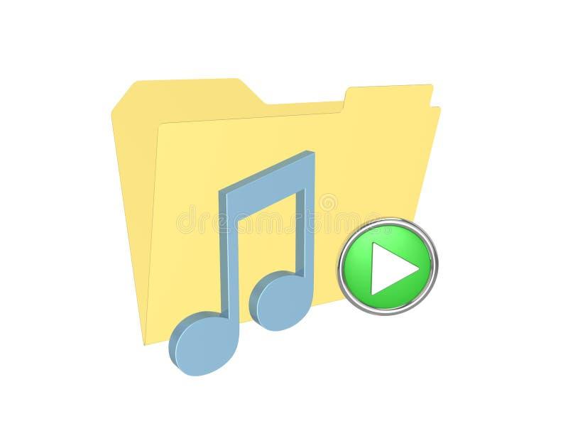 3d music folder. Isolated on the white background royalty free illustration