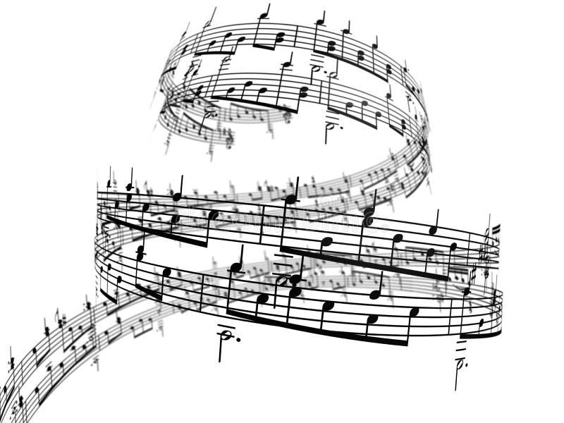 3d muzieknota's stock illustratie
