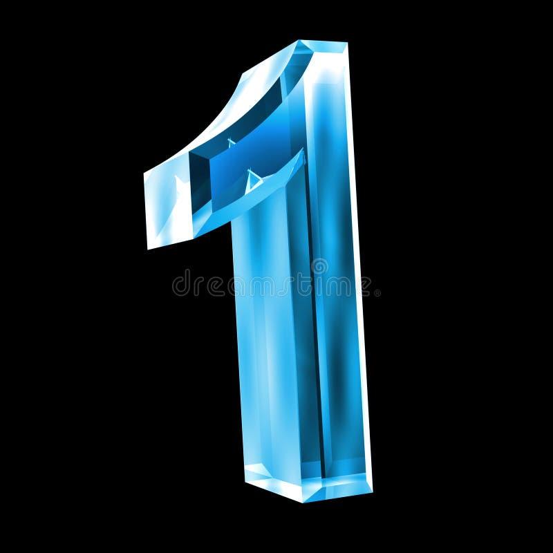 3d número 1 no vidro azul ilustração stock