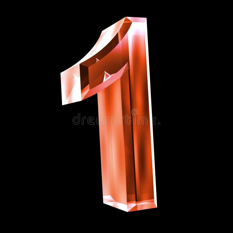 3d número 1 no vidro vermelho ilustração stock