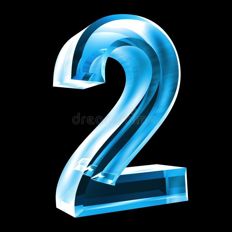 3d número 2 no vidro azul ilustração royalty free