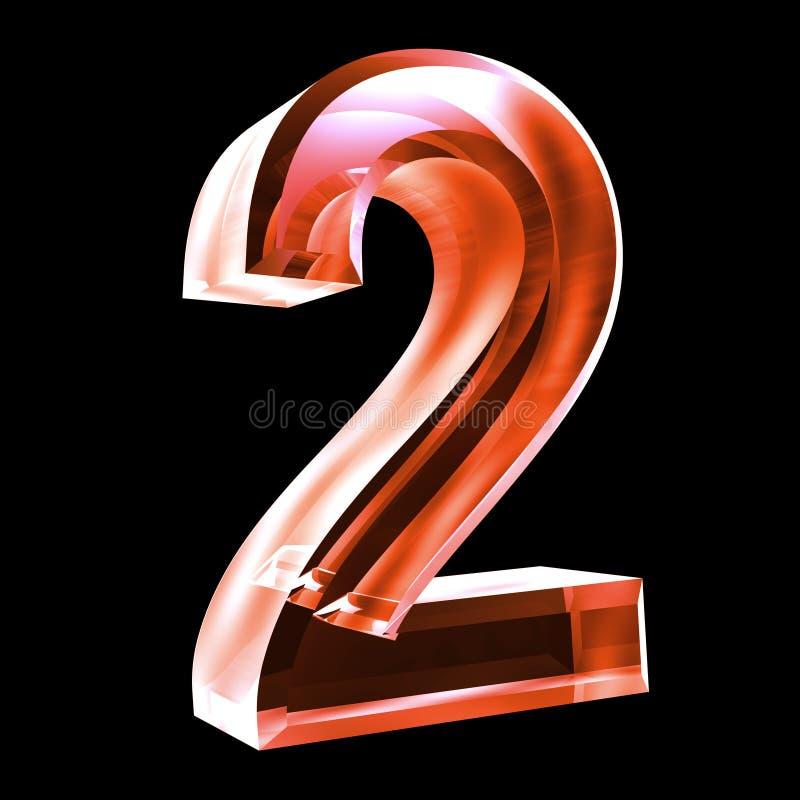 3d número 2 no vidro vermelho ilustração royalty free