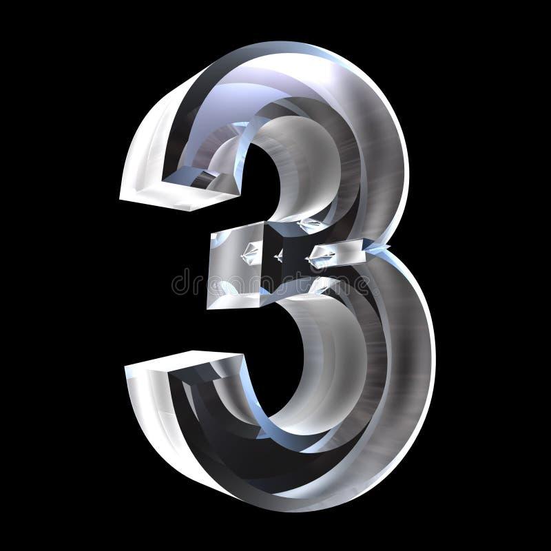 3d número 3 no vidro ilustração do vetor