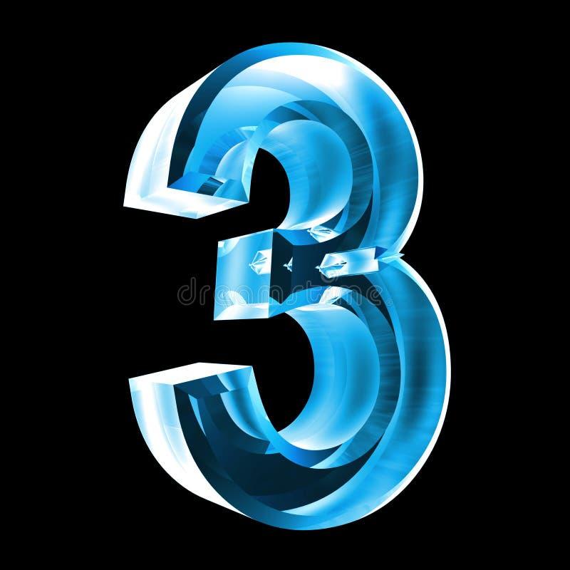3d número 3 no vidro azul ilustração do vetor