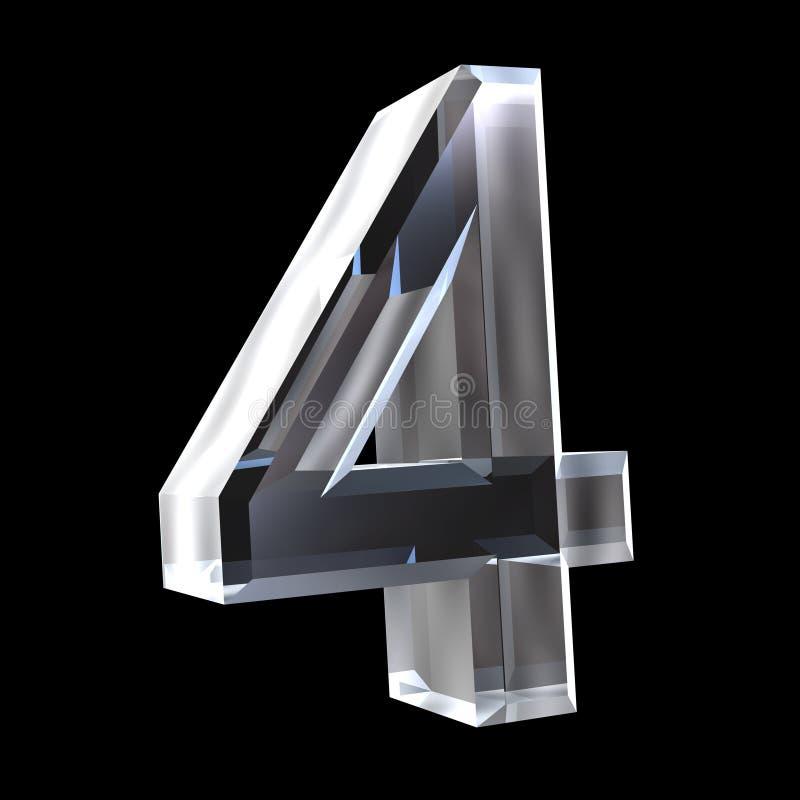 3d número 4 en vidrio ilustración del vector