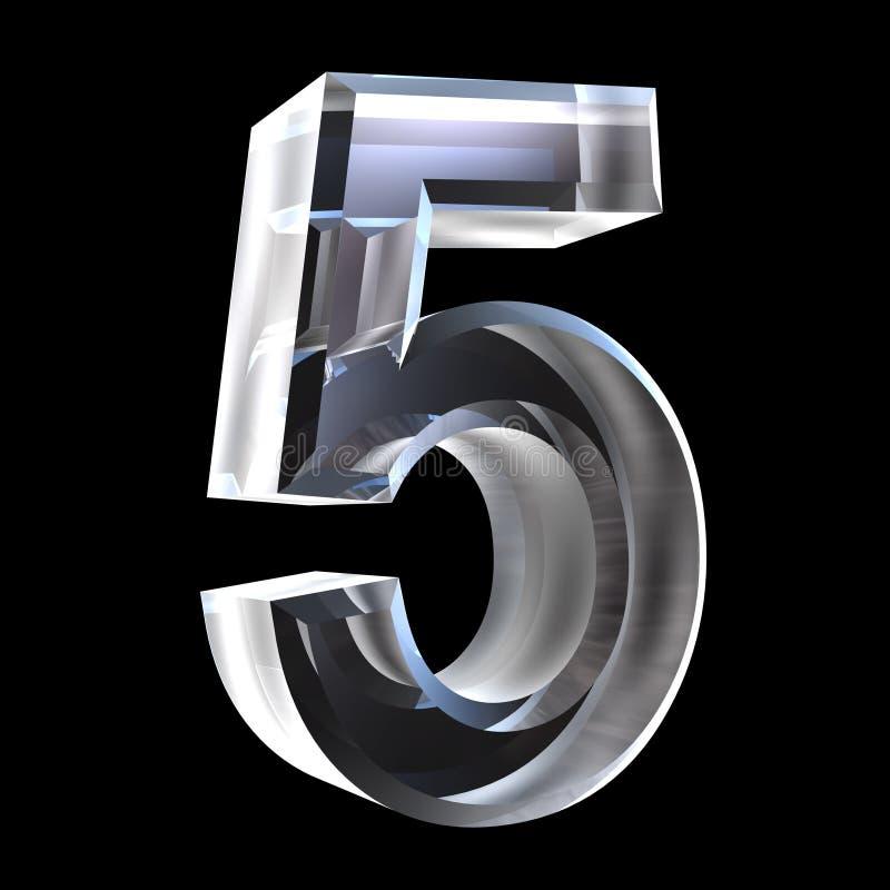 3d número 5 en vidrio ilustración del vector