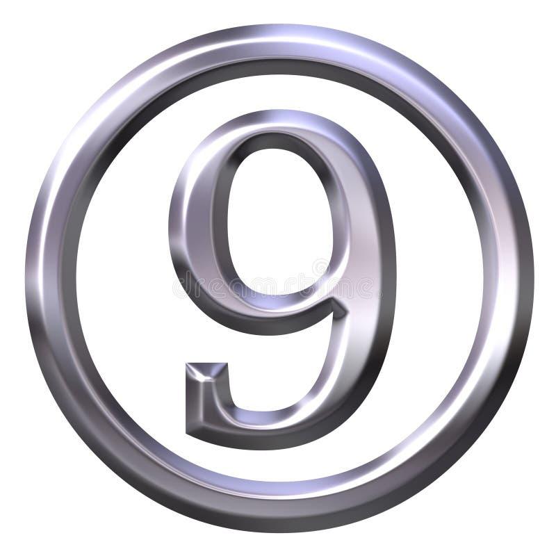 3D número de prata 9 ilustração do vetor