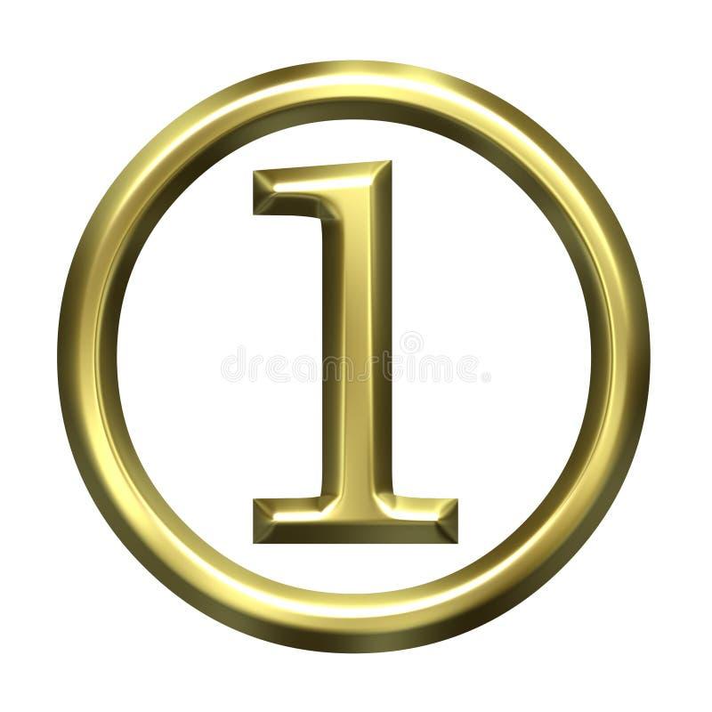 3D número dourado 1 ilustração do vetor