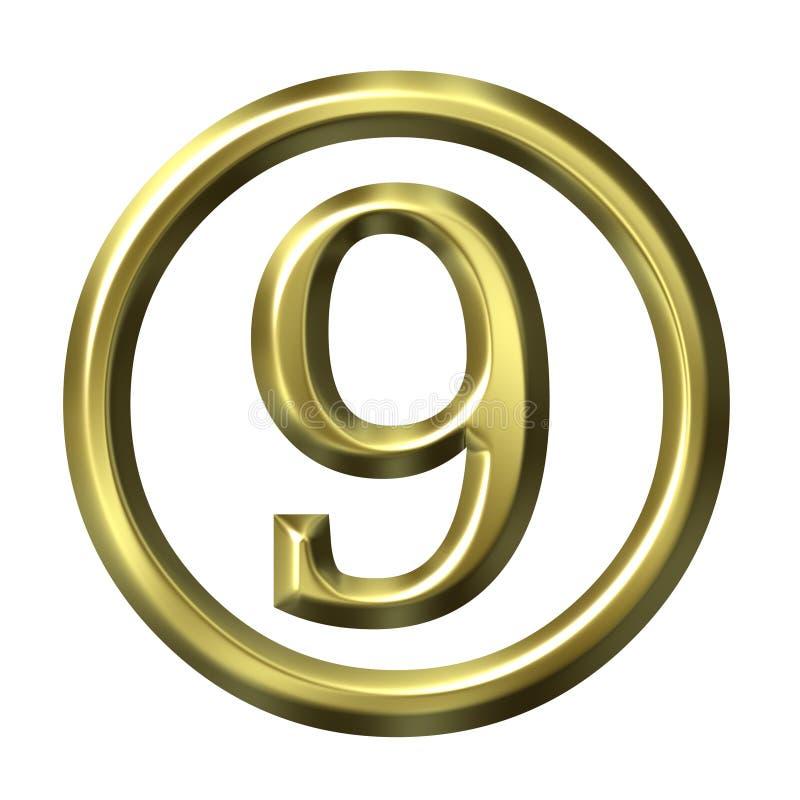 3D número dourado 9 ilustração royalty free