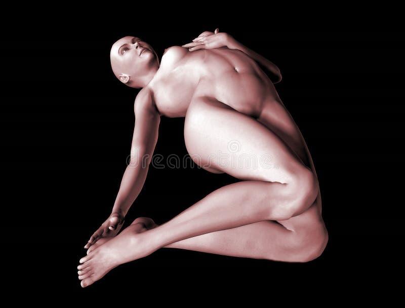 3d Naakte Vrouw-3 Stock Fotografie