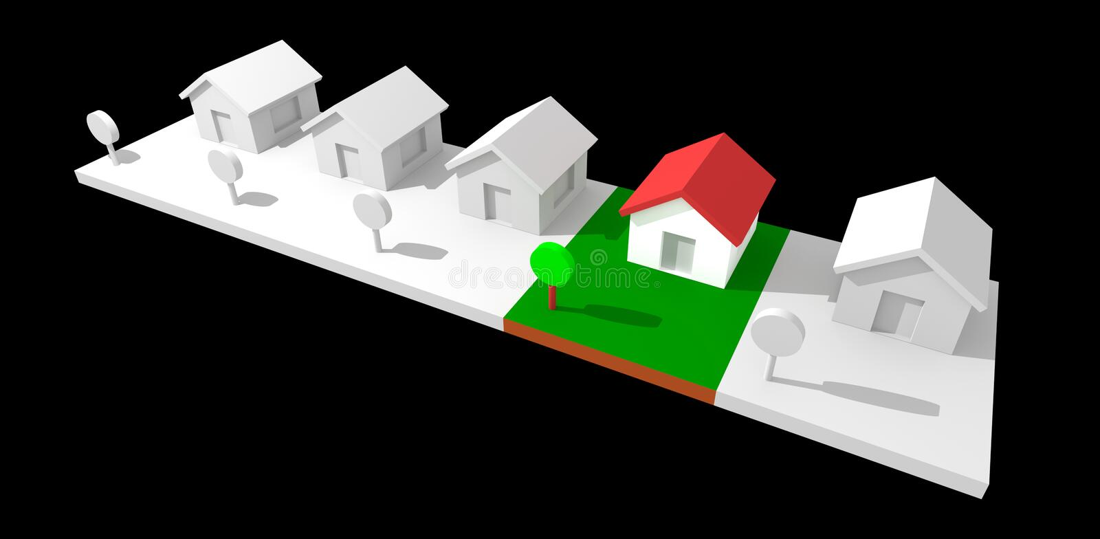 3d neighborhood houses. 3d neighborhood houses isolated with clipping path. Rendered image vector illustration