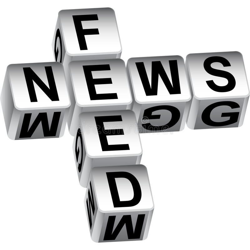 3D News Feed Dice Message. Isolated on a white background stock illustration