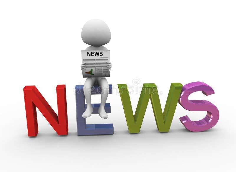 3d nieuws van de mensenlezing royalty-vrije illustratie