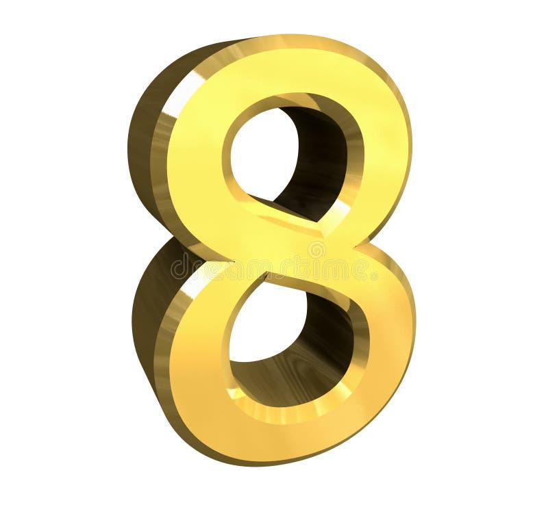 3d Nr. 8 im Gold vektor abbildung