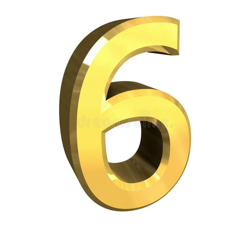 3d Number 6 In Gold Royalty Free Stock Images