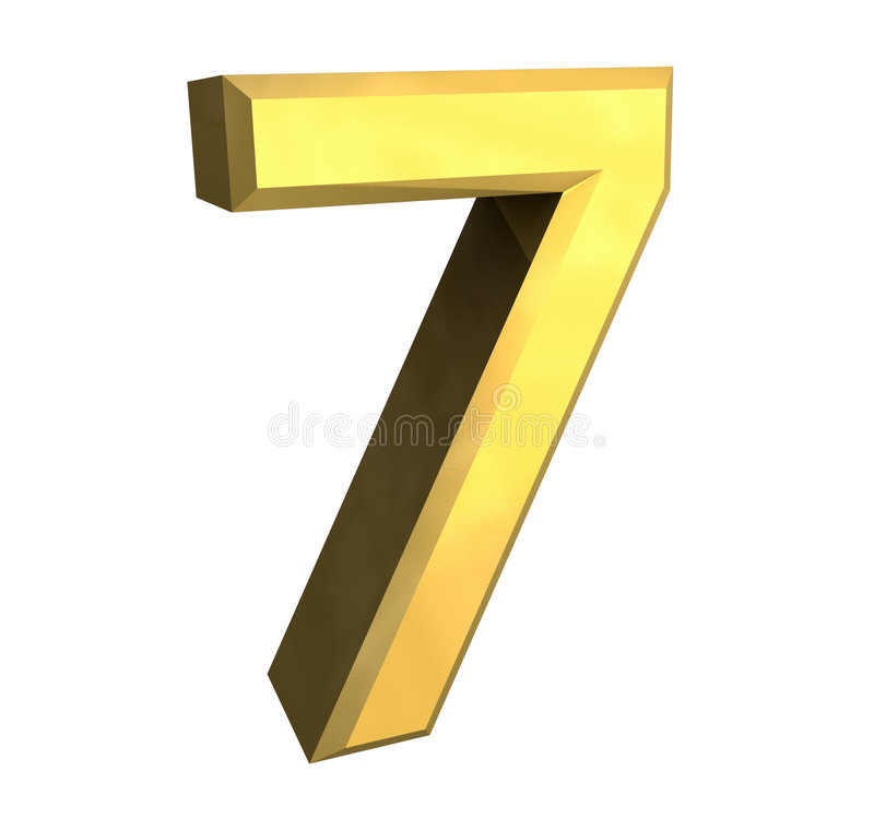 3d number 7 in gold vector illustration