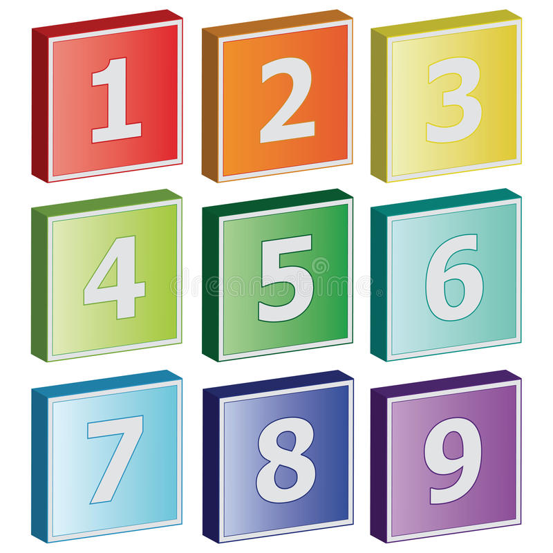 3D number sign icons